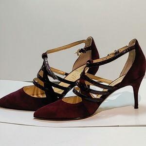 Ivanka Trump Deep Plum Strappy Shoes